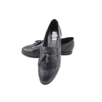Faisal black loafers with top and twin tassels