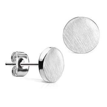 BodyJ4You Round Earrings Studs Brushed Finish 7mm Stainless Steel Post Ear Stud for Women and Men's