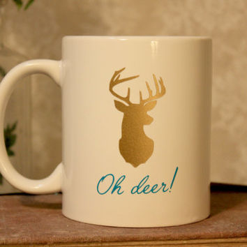 Oh deer! 11 oz Gold and Teal ceramic coffee mug, oh deer, nature, deer mug, gift for hunter, gift for friend, antlers