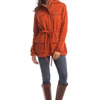 Anorak Jacket in Burnt Orange - Synergy Organic Clothing