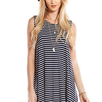 Tag Along Striped Navy Swing Dress