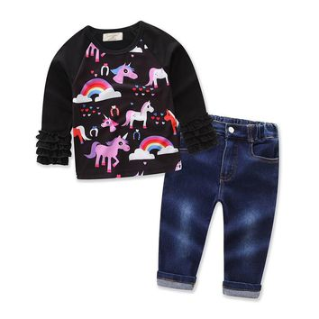 Kids Baby Girl Unicorn Ruffle Long Sleeve Tops+Jeans Pants Infant Toddler Clothes Outfit Set