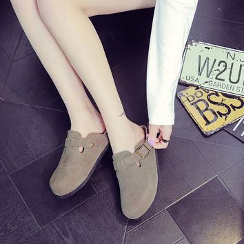 Fashion leather cork slippers couple drag head shoes slippers