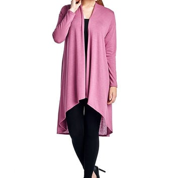 82 Days Women'S Hacci Open Front Stylish Long Cardigan - Solid
