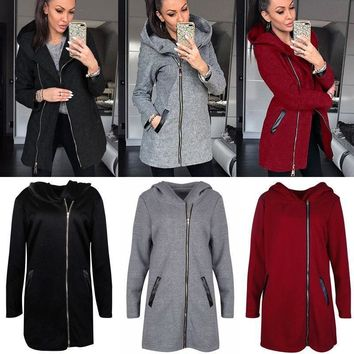 A Fashion Women Winter Slim Coat Hooded Side Zipper Jacket Casual Warm Outwear