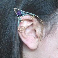 Cyan Blue & Gold Plated Handmade Wire Wrapped Purple Crackle Quartz Elf Ear Cuffs. Wire Weave, Spiral, Elven Ears, LARP, Elven Wedding
