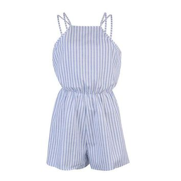 VLX0E4 Women Ladies Casual Summer Strip Camis Playsuit Bodycon Halter Backless Sexy Party Jumpsuit Romper Clubwear Trousers
