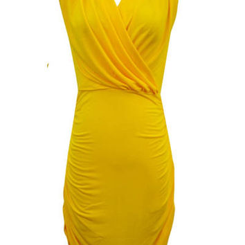 Yellow V-neck Sleeveless Ruched Mini Bodycon Dress