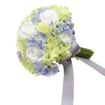 """10"""" Bouquet - Green, light blue, and white hydrangea rose hand-tied bouquet"""