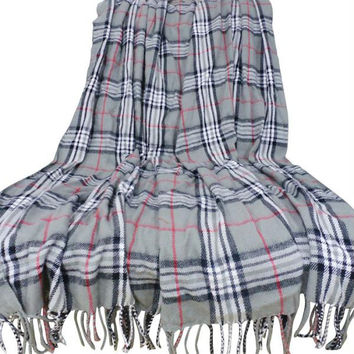 Lavish Home Cashmere-Like Blanket Throw - Grey Plaid
