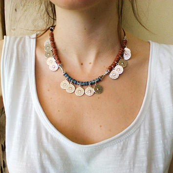 Necklace, Beaded leather choker for women, tribal layering bib necklaces, ethnic coin charm jewelry, graduation gift for daughter, beachy