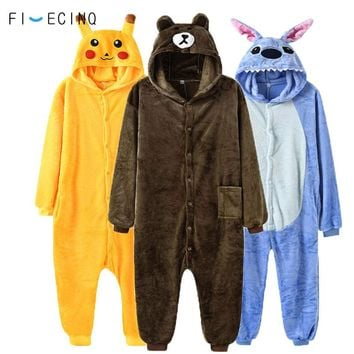Animal Onesuit Kigurumi Adult Fancy Women Men Overalls Pokemon Bear Unicorn Stitch Anime Cosplay Costume Soft Winter Pajama Suit