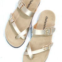 Toe Strap Bork Slide On Sandals Metallic Leather Look {Gold}