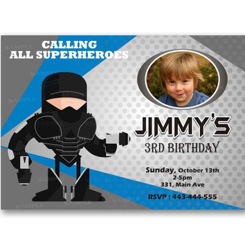 Robocop Superhero Polka Dot Kids Birthday Invitation Party Design