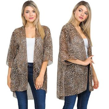 Leopard Kimono in Coming Out Gold