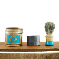 "Shaving Kit : Geometric Hand Painted Turquoise Design, ""The Victor"""