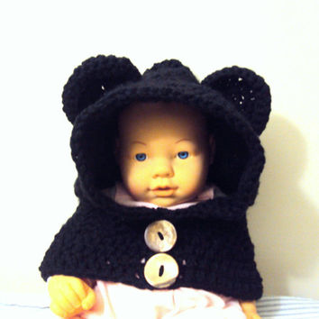 Babies Hooded Bear Cowl Scarf Crochet Hoodie Scoodie Bear Ears Hat Winter Earwarmer  Neckwarmer New Born Baby Infant and Toddler Size