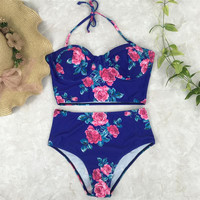 Hot Summer Beach New Arrival Swimsuit Swimwear Bra High Waist Print Sexy Bikini [11629963087]