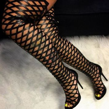 Over The Knee Gladiator Boots Cut Out Leather Lace Up Back Thigh High Boots