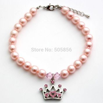 LMFET7 Pet dog pearls necklace collar cat puppy jewelry rhinestones crown charm pendant/S M L