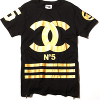 COCO N5 Homme+Femme Gold Foil T-shirt LIMITED EDITION