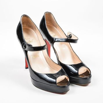 ONETOW Black Christian Louboutin Patent Leather Peep Toe Mary Jane Pumps