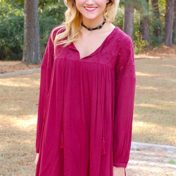 Explore The Countryside Dress-Wine