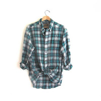 20% OFF SALE / Vintage blue Plaid Flannel / Grunge Shirt / cotton button up shirt