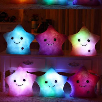 Stuffed Plush Toys Star Glow Toys Animals Gift Dolls Miniatures  Available 5 Colors White Blue Pink Purple Yellow Glow Flashing Bright Toy