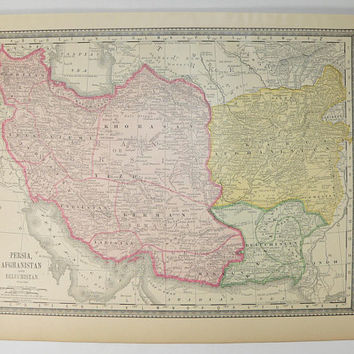 Vintage Iran Map 1881 Rand McNally Map Persia, Afghanistan Map, Persian Gulf Map, Antique Middle East Map Baluchistan, Middle Eastern Decor
