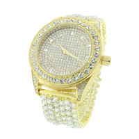 Mens Gold Tone Watch Fully Iced Out  Joe Rodeo Jojo Jojino