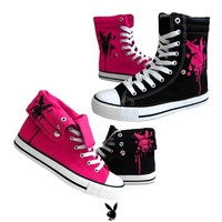 Womens Lace Up Canvas Sneakers Playboy Bunny Shoes Black , 5.5-10