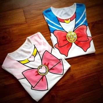 Sailor Moon Harajuku T-shirt Kawaii Cosplay Tops Fake Print Cutie Anime Costume