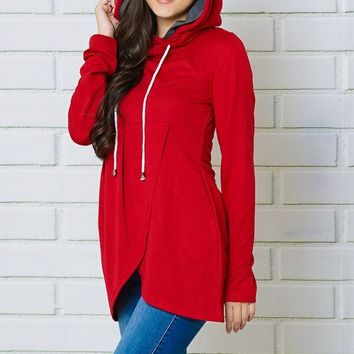 2018 Fall Women's Wine Color Hooded Top With Side Hidden Pockets