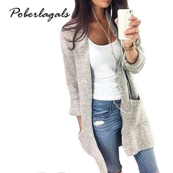 Women's Cotton Blend Long Sleeve Loose Knitted Cardigan Sweater