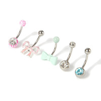 14G Bow Barbell Belly Ring Set of 5