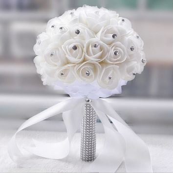 Beautiful White Ivory Bridal Bridesmaid Flower Wedding Bouquet Artificial Flower Rose Bouquet Crystal Bridal Bouquets WP004