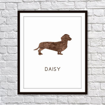 Dog Art Print, Dachshund Breed, Weiner Dog, Personalized Dog Print, Pet Art 5x7, 8X10, 11x14 Faux Wood 'Look', Wall Decor, Pet Print