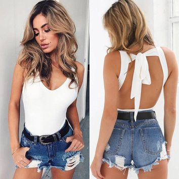 Womens Sleeveless Bodysuit Leotard Bodycon Bandage Jumpsuit Romper TopsBlouse US