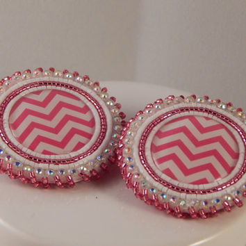 Pink Chevron Beaded Earrings, pow wow beadwork, handmade cabs - fancy jingle traditional ladies teen dancer - Native American Metis made