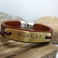FREE SHIPPING - Men Bracelet, Men's Bracelet.  Personalized relief  Bracelet,Leather Bracelet, men gift, brass plate. silver plated clasp