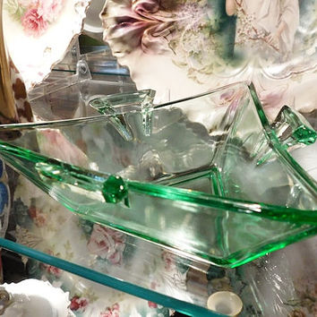 Heisey Glass Dish Triangle Handled Moongleam Light Emerald Green Glass Dish Candy Jelly Nappy 1920s Elegant Glassware of the Depression Era