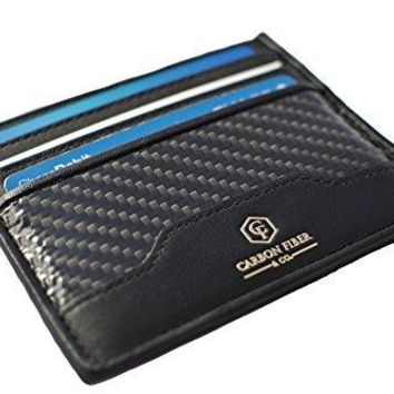 Real Carbon Fiber and Leather Men's Slim Wallet by Carbon Fiber & Co.