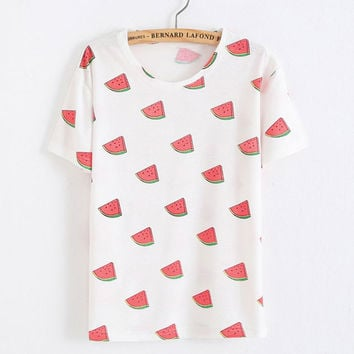 Watermelon Printed Fruit Cotton T-Shirt In White
