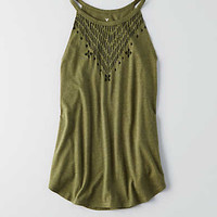 AEO Hi-Neck Swing Graphic Tank, Fatigue Olive