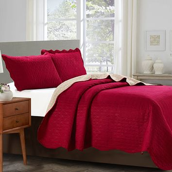 Sherry - 3 Piece - Solid Reversible Quilt Bedding Set