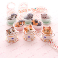Tea Cup Cat Animal Miniature Figurine Decoden