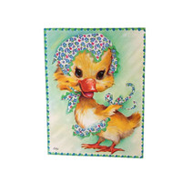 Baby Chick Duckling Easter Decor Vintage Get Well Greeting Card Unused Kitsch Animals Ephemera Collage Paper Craft Scrapbooking  Mixed Media