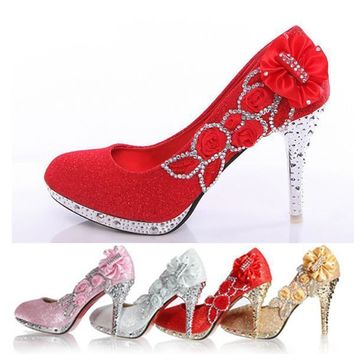 Wedding Shoes Bridal Pumps Women Girl Glitter Fake Crystal Rose Flower Evening Party C