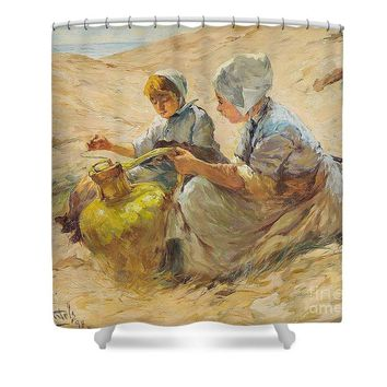 Two Girls In The Sand Dunes - Shower Curtain